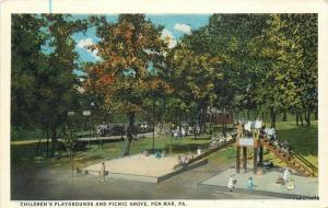 1920s Children's Playgrounds Picnic Grove PEN MAR PA Bowers Teich postcard 5257