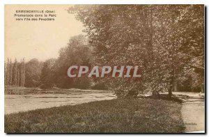 Old Postcard Ermenonville Oise Walk in the park to the island of Poplars