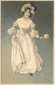 RARE Vintage Meissner & Buch Postcard, Beautiful Woman Lady, Fashion 98U