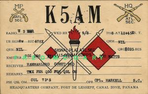 1938 Fort de Lesseps Canal Zone QSL Card from Army Signal Platoon Corporal