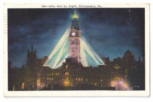 City Hall by Night Philadelphia PA 1937