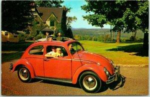 1960s VOLKSWAGEN VW BUG BEETLE Postcard Automobile Advertising Red Car / Unused