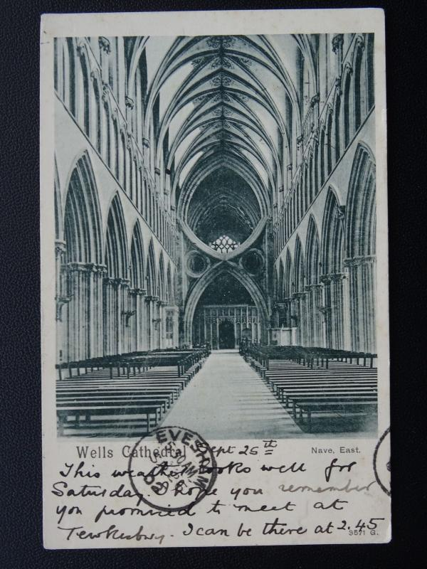 Somerset WELLS CATHEDRAL Nave East c1902 UB Postcard by Peacock 3571G