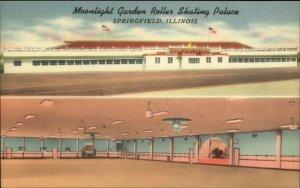 Springfield IL Moonlight Garden Roller Skating Rink Linen Postcard