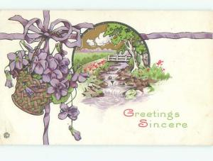 Divided-Back BEAUTIFUL FLOWERS SCENE Great Postcard AA2364