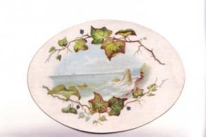 Vintage Victorian Single Layer Oval   Card, Ocean Scene, Leaf  Border,