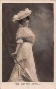 Miss Eleanor Souray, Actress, Fancy hat, glamour umbrella, dress 1909