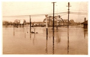 Flood  Disasters  High Water up to Railroad Bridge
