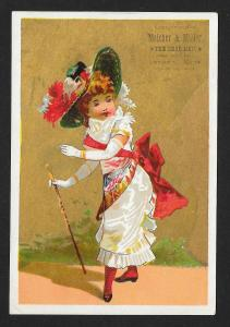 VICTORIAN TRADE CARD Melcher & Miller Shoes Fancy Lady Dressed Up