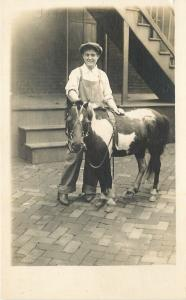 Man And His Shetland? Pony on Brick Road~Real Photo Postcard c1920