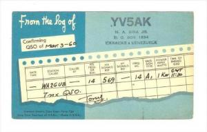 YV5AK From The Log Of Confirming QSO, Caracas, Venezuela, 1900-1910s