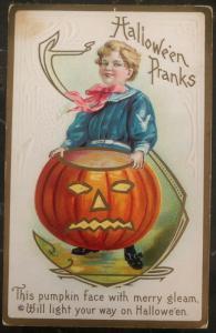 Mint Vintage USA Picture Postcard PPC  Halloween Pranks