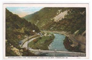 National Highway The Narrows Cumberland MD '29 postcard