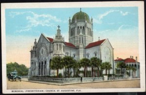 Florida ST. AUGUSTINE Memorial (Presbyterian) Church older car - White Border