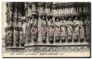 Old Postcard Amiens Cathedral Detail From Grand Porch