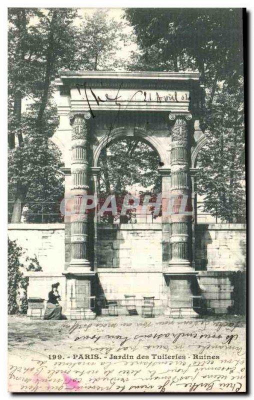 Old Postcard Paris Tuileries Garden Ruins