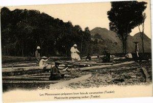 VIETNAM INDOCHINE - Les Missionnaires préparent leurs bois TONKIN (190093)