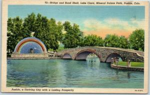 Pueblo, CO Postcard MINERAL PALACE PARK Bridge & Band Shell, Lake Clara Linen