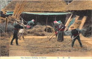 Early Japanese The Farmers Striking to Barley Postcard
