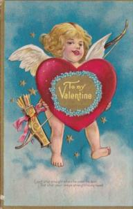Valentine's Day Cupid Holding Red Heart 1909