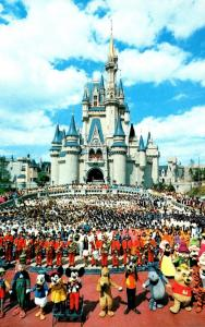 Florida Walt Disney World Cinderella Castle With Mickey Mouse and Cast Of Tho...