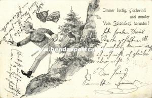 BOER WAR, Caricature, British Soldier runs away from Spion Kop (1900) Glitters