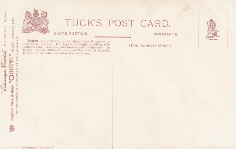 MIDDLESEX , England, 00-10s ; HESTON ; TUCK 7127