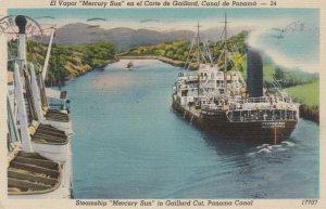 Steamship MERCURY SUN in Gaillard Cut, PANAMA CANAL, 1954
