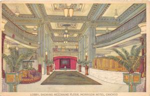 Chicago Illinois~Morrison Hotel~Lobby Showing Mezzanine Floor~Potted Plants~1910