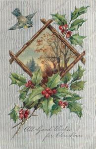 PFB~Christmas~Wood Framed Fall Trees~Holly~Bluebird~Silver Back~Emb~Serie 7732