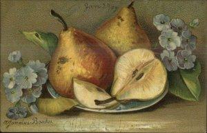 Gammius Boecker Fruit Still Life Art c1910 Postcard PEARS