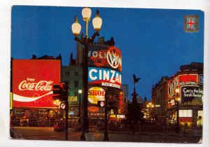 LONDON, Piccadilly Circus and Statue of Eros by night, unused Postcard