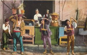 Napoli Mangiamaccheroni Naples macaroni store street sellers commerce Italy