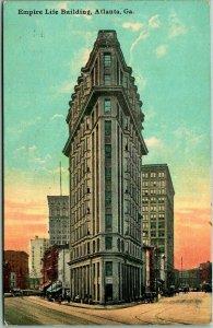 Vintage Atlanta, Georgia Postcard EMPIRE LIFE BUILDING Street View / 1912 Cancel