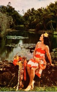 Hawaii Hawaiian Maiden In Tropical Setting