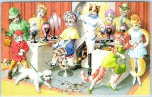 Artist-Signed MAINZER Cat Postcard Beauty Parlor Salon Poodle Printed Spain 4982