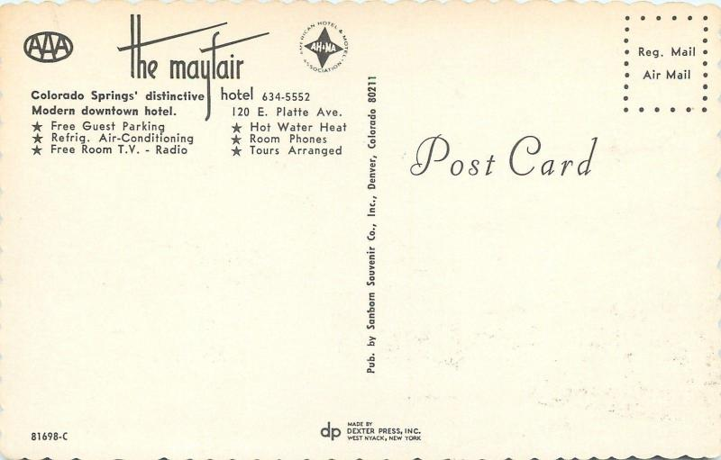 Colorado Springs~The Mayfair Hotel on Platte Ave~Room Phones 1960s Postcard