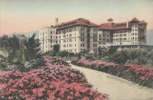The Potter Hotel, Santa Barbara, California, early hand colored postcard, Unused
