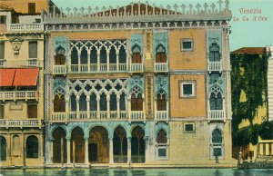 Postcard Italy Venice Venezia La Ca d'Oro Architecture Front View Balcony