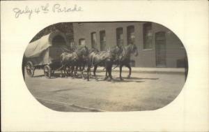 Elkhart IN? Written on Back Horse Drawn Covered Wagon & Bdg c1910 RPPC