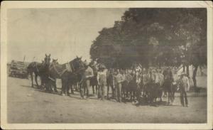 Men & Horses La Grande OR Written on Back Old Photo Photograph