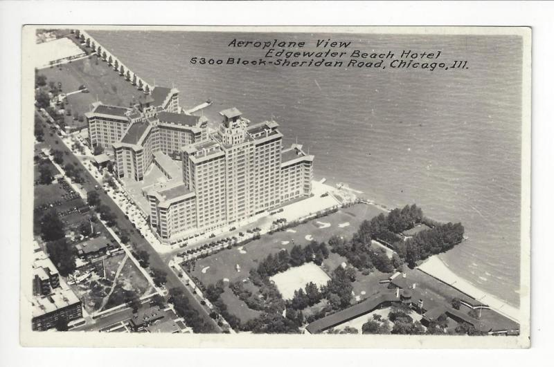 Vintage USA Real Photo Postcard - Edgewater Beach Hotel, Chicago (AG5)