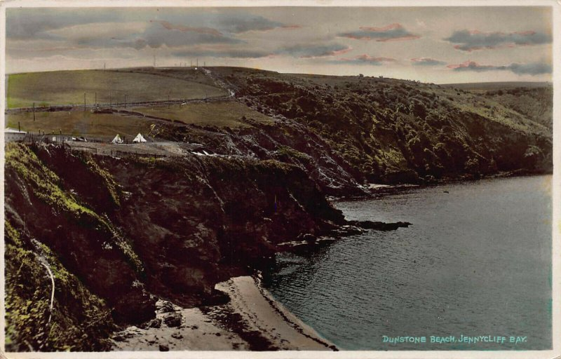 Dunstone Beach, Jennycliff Bay, England, Early Hand Colored, Real Photo Postcard