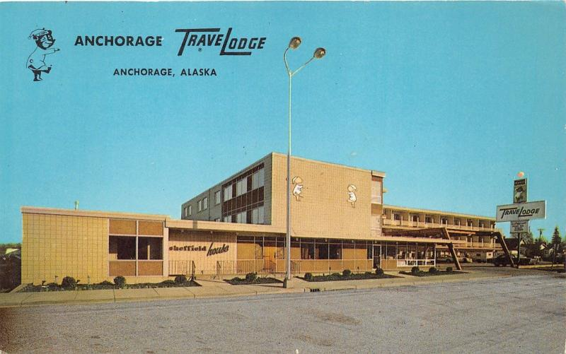 Anchorage Alaska~Anchorage Travelodge~Sheffield House~1950s Postcard