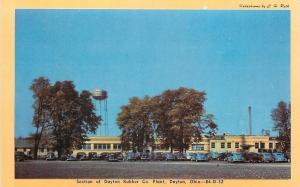 Dayton Ohio~Fat Water Tower @ Rubber Company Plant~Nice 1940s Cars~Postcard pc