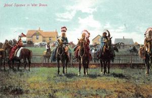 Native Americana Indian Blood Squaws in War Dress Antique Postcard J74460