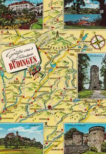 Budingen German Map Karte Postcard