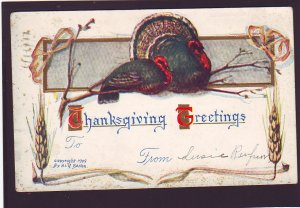 P1614 1911 thanksgiving postcard with old stamp