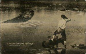 Trick Photography Bull-Head Fishing Exaggeration c1910 Real Photo Postcard