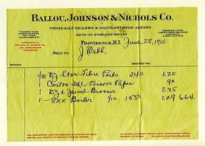 1915 Ballou, Johnson & Nichols Co Billhead, Providence, R...
